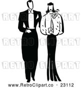 Vector Clip Art of Retro Posh Couple by Prawny Vintage