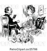 Vector Clip Art of Retro Posh Couple Sitting by Prawny Vintage