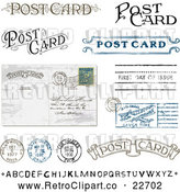 Vector Clip Art of Retro Post Card Text and Elements by BestVector