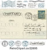 Vector Clip Art of Retro Post Card with a Postmark and Stamps by BestVector