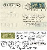 Vector Clip Art of Retro Post Card with a Postmark Cash and Stamps by BestVector