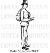 Vector Clip Art of Retro Post Guy Holding an Envelope by Prawny Vintage