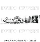 Vector Clip Art of Retro Postal Stamp with a Postmark by Prawny Vintage