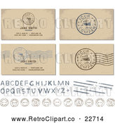 Vector Clip Art of Retro Postal Stamps and Your Company Is Requested Postmarks with Sample Text by BestVector