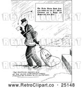 Vector Clip Art of Retro Postman Dragging a Mail Bag by Prawny Vintage