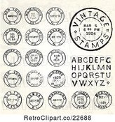 Vector Clip Art of Retro Postmark Stamps and Letters by BestVector