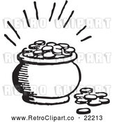 Vector Clip Art of Retro Pot of Coins by BestVector
