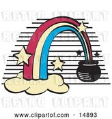 Vector Clip Art of Retro Pot of Gold at the End of a Rainbow by Andy Nortnik