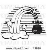 Vector Clip Art of Retro Pot of Gold at the End of a Rainbow, by Andy Nortnik