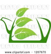 Vector Clip Art of Retro Pot of Green Tea with Leaves by Vector Tradition SM