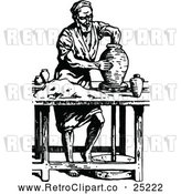 Vector Clip Art of Retro Potter Making a Jar by Prawny Vintage
