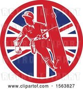 Vector Clip Art of Retro Power Lineman on a Pole in a Union Jack Flag Circle by Patrimonio