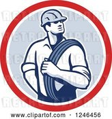 Vector Clip Art of Retro Power Lineman with an Electric Wire in a Circle by Patrimonio