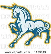 Vector Clip Art of Retro Prancing Unicorn in Blue and Yellow by Patrimonio