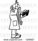 Vector Clip Art of Retro Preacher Holding His Hand up by Prawny