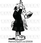 Vector Clip Art of Retro Preacher Reading and Holding a Hand up by Prawny Vintage