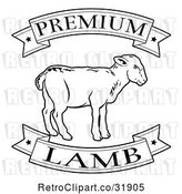 Vector Clip Art of Retro Premium Lamb Food Banners and Sheep by AtStockIllustration