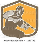 Vector Clip Art of Retro Pressure Washer Worker in a Brown White and Orange Shield by Patrimonio