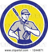 Vector Clip Art of Retro Pressure Washer Worker in a Circle by Patrimonio