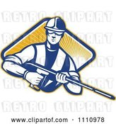 Vector Clip Art of Retro Pressure Washer Worker over a Diamond of Rays 1 by Patrimonio