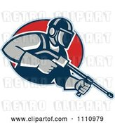 Vector Clip Art of Retro Pressure Washer Worker over a Red Circle by Patrimonio