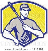 Vector Clip Art of Retro Pressure Washer Worker over a Shield of Rays by Patrimonio