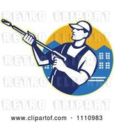 Vector Clip Art of Retro Pressure Washer Worker over an Urban Circle by Patrimonio