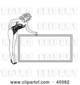Vector Clip Art of Retro Pretty 1940's Style Pinup Girl in Heels and a Bodice, Bending over and Presenting a Blank Sign by C Charley-Franzwa
