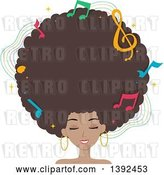 Vector Clip Art of Retro Pretty Black Lady with a Giant Afro and Music Notes by BNP Design Studio