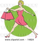 Vector Clip Art of Retro Pretty Blond Lady with Short Hair Taking Long Strides and Carrying Shopping Bags Clipart Illustration by Andy Nortnik