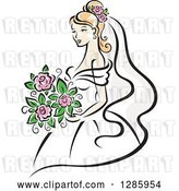 Vector Clip Art of Retro Pretty Blond White Bride with a Bouquet of Pink Flowers by Vector Tradition SM
