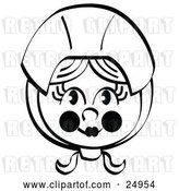 Vector Clip Art of Retro Pretty Female Pilgrim with Flushed Cheeks, Wearing a Bonnet over Her Hair by Andy Nortnik