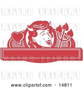 Vector Clip Art of Retro Pretty Shedevil with a Mole and Horns over a Blank Banner by Andy Nortnik