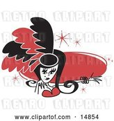 Vector Clip Art of Retro Pretty Showgirl in Red and Black Feathers, Holding out Her Arm in Front of a Red Circle by Andy Nortnik