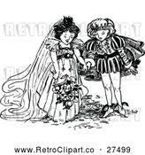 Vector Clip Art of Retro Prince and Princess Getting Married by Prawny Vintage