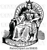 Vector Clip Art of Retro Princess in a Chair by Prawny Vintage