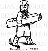 Vector Clip Art of Retro Printer Worker Carrying a Letter B by Prawny Vintage