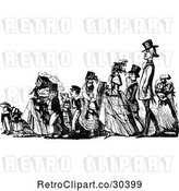 Vector Clip Art of Retro Procession of People by Prawny Vintage