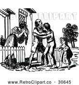 Vector Clip Art of Retro Prodigal Son Returning Home by Prawny Vintage