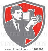 Vector Clip Art of Retro Professional Cameraman Filming in a Gray White and Red Shield by Patrimonio