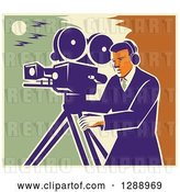 Vector Clip Art of Retro Professional Male Cameraman Working over a Green Yellow and Orange Sky by Patrimonio