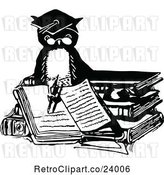 Vector Clip Art of Retro Professor Owl Writing in a Book by Prawny Vintage