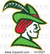 Vector Clip Art of Retro Profile of Robin Hood Wearing a Plumed Hat by Patrimonio
