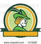 Vector Clip Art of Retro Profile of Robin Hood Wearing a Plumed Hat in a Circle by Patrimonio