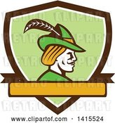 Vector Clip Art of Retro Profile of Robin Hood Wearing a Plumed Hat in a Shield by Patrimonio
