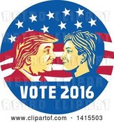 Vector Clip Art of Retro Profile Portrait of Donald Trump and Hillary Clinton Facing off in an American Flag Circle with Text by Patrimonio