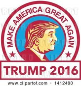 Vector Clip Art of Retro Profile Portrait of Donald Trump in a Circle with Text by Patrimonio