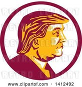 Vector Clip Art of Retro Profile Portrait of Donald Trump in a Magenta Circle by Patrimonio