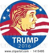 Vector Clip Art of Retro Profile Portrait of Donald Trump in an American Flag Circle by Patrimonio