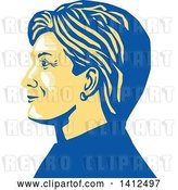 Vector Clip Art of Retro Profile Portrait of Hillary Clinton by Patrimonio